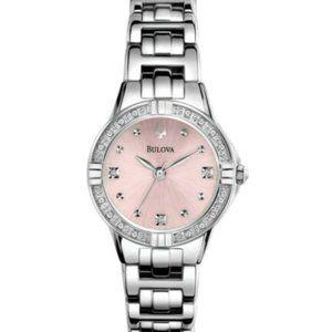 Bulova Pink Quartz Diamond Accent Watch